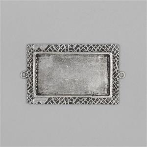 ICE Resin® Antique Silver Milan Large Rectangle Bezel with Closed Backs Approx ID 42x23mm