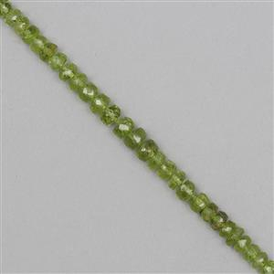 35cts Peridot Graduated Faceted Rondelles Approx From 4x2 to 5x3mm, 12cm Strand.
