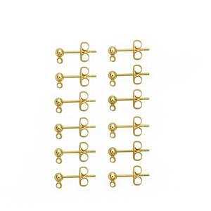 Gold Plated Base Metal Earring Posts with Loop & Butterfly Packs (50 pairs)
