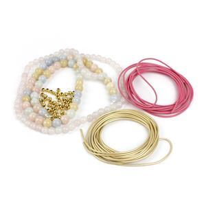 Fairytale; Leather Cords, Rose Quartz 6mm, Beryl 8mm, Gold Plated Spacers