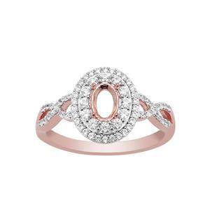 Rose Gold Plated 925 Sterling Silver Oval Ring Mount (To fit 6x4mm gemstones) Inc. 0.55cts White Zircon Brilliant Cut Round 0.90 to 1.5mm - 1Pcs