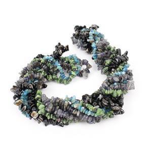 Nugget Bundle Inc: Iolite ,Blue Apatite,Black Agate &  Ruby Zoisite