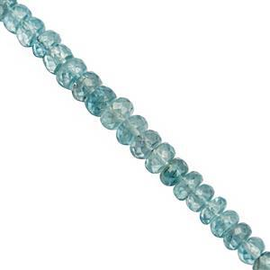 30cts Ratanakiri Blue Zircon Graduated Faceted Rondelles Approx 3.5x2 to 5x2.5mm, 10cm Strand