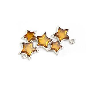 Baltic Cognac Amber Sterling Silver Starburst Connector, Approx 20x35mm