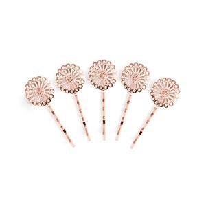 Rose Gold Coloured Base Metal Filigree Bobby Pin Blanks, Approx 25x67mm (5pk)
