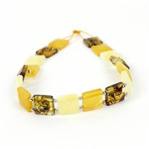 Baltic Multi Colour Amber Square Beads with Sterling Silver Spacers Beads, Inc. Butterscotch, Earthy & Off-White. Approx. 10mm, 20cm Strand