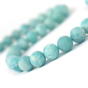 277cts Multi-Colour Amazonite Matt Finish Frosted Round Approx 10mm, 38cm Loose Strand