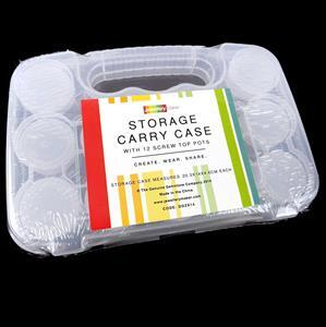 Storage Carry Case 20.3x14x4.6cm with 12 Screw Top Pots
