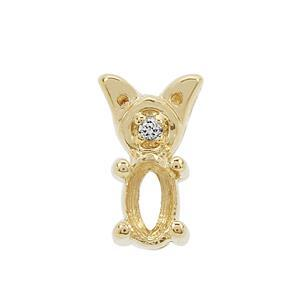 Gold Plated 925 Sterling Silver Oval Pendant Mount (To fit 5x3mm Gemstone) Inc. 0.02cts White Zircon Brilliant Cut Round 1.25mm- 1pcs
