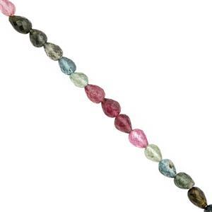 25cts Multi-Colour Tourmaline Faceted Drop Approx 4x3.5 to 7x5mm, 19cm Strand