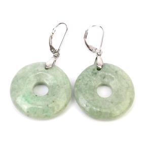 Circle of Heaven 56ct Moss In The Snow Jadeite Sterling Silver Earrings