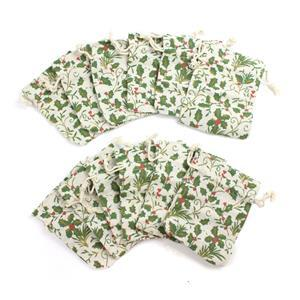 Holly Print Cotton Rich Drawstring Gift bag 12x9cm 12pk