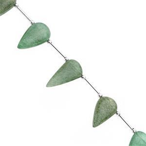 85cts Green Aventurine Quartz Smooth Inverted Pear Approx 16x9.5 to 27x14mm, 18cm Strand with spacers