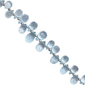 35cts Sky Blue Coated Topaz Top Side Drill Faceted Drop Approx 4.5x3 to 9x5mm, 19cm Strand with Spacers