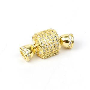 Gold Plated 925 Sterling Silver Barrel Clasp With Cubic Zirconia Detail Approx 20X10mm