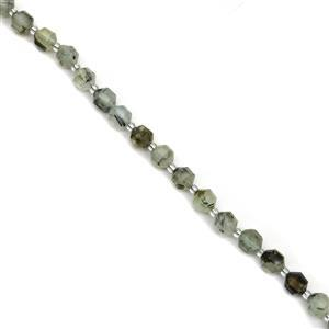 120cts Prehnite Faceted Satellite Beads Approx 7X8mm, 38cm Strand