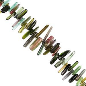 45cts Multi-Colour Tourmaline Graduated Plain Top Drilled Irregular Slices Approx 6x2 to 12x3mm, 10cm  Strand.
