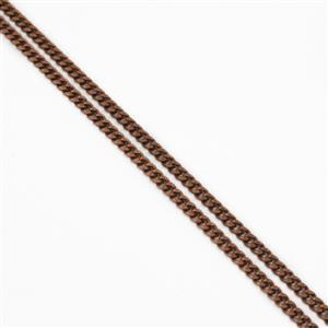 Antique Bronze Plated Brass Curb Chain - 3.6x4.5mm (1m)