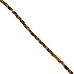 195cts Yellow Tigers Eye Twisted Tubes Approx 8x16mm, 38cm Strand