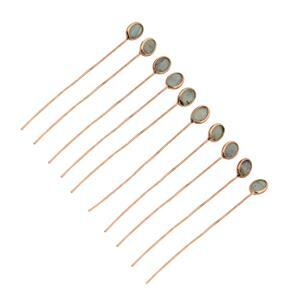 2.15cts Labradorite Rose Gold Flash Sterling Silver Headpins Oval 4x3mm, length 40mm and width 0.50mm (10pcs/pack)