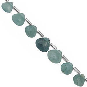 32cts Grandidierite Faceted Heart Approx 5.50 to 9mm, 26cm Strand with Spacers