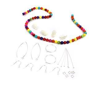 Fineapple! White Mother of Pearl Pineapples, Multi-Colour Magnetise & Earrings
