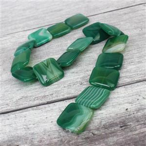580cts Green Stripe Agate Puffy Squares Approx 25mm, 38cm/strand