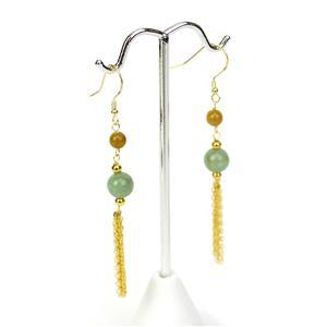 9ct Multi-Colour Type A Jadeite Gold Tone Sterling Silver Earrings