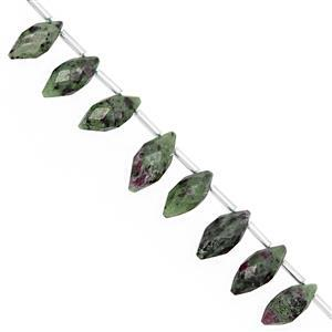 52cts Ruby Zoisite Top Side Drill Faceted Rice Beads Approx 12x6 to 17x7mm, 12cm Strand with Spacers