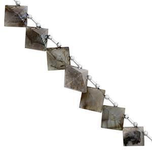 165cts Labradorite Faceted Pyramid Approx 14.50 to 21.50mm, 23cm Strand with Spacers