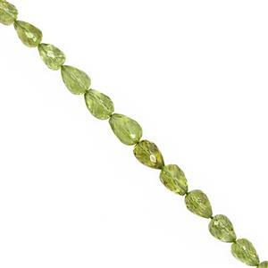 45cts Peridot Straight Drill Faceted Drop Approx 6x4 to 7x5mm, 22cm Strand with Spacers