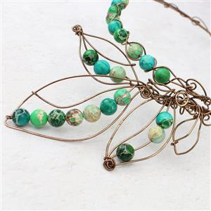 Leafy:Parrot green,malachite green & light green Variscite 10mm rounds,antique bronze wire