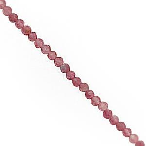 16cts Pink Tourmaline Faceted Round Approx 2mm, 37cm Strand