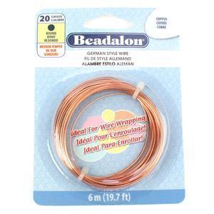 Beadalon Copper German Style Wire Round Wire, 20 Gauge/0.81mm, 19.7ft/6m