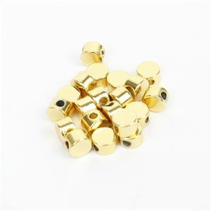 Gold Plated Base Metal Circle Spacer Beads, Approx. 4mm (20pk)