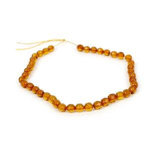Baltic Cognac Amber Micro Faceted Rounds, Approx. 5mm 20cm