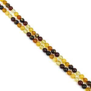 Baltic Multi Colour Amber Rounds Approx. 5mm, 38cm Strand - Honey, Earthy, Cherry, Lemon & Butterscotch