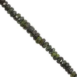 38cts Green Tourmaline Graduated Faceted Rondelle Approx 2x1 to 4.5x2.5mm, 32cm Strand