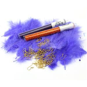 Fandango; Violet Lined Amethyst & Silver Lined Orange 11/0s, Purple Marabou Feathers, Aztec Gold Fire Polish with Shepherd Hooks