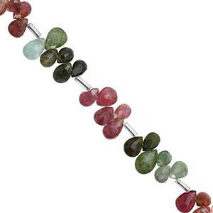 30cts Multi-Colour Tourmaline Top Side Drill Faceted Pear Approx 5.5x3.5 to 8.5x5.5mm, 20cm Strand