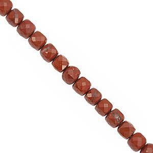 98cts Red Jasper Faceted Cube Approx 5 to 5.5mm, 38cm Strand