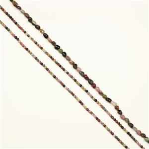 180cts Multi-Colour Tourmaline Strands, Plain Rounds Approx 4mm, Small Nuggets Approx 6x7mm