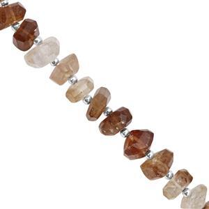120cts Imperial Topaz Graduated Faceted Unusual Tumble Approx 8x5 to 12.5x7.5mm, 15cm Strand with Spacers