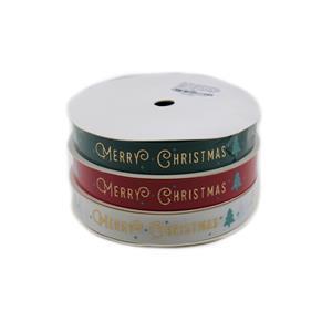 16mm Grosgrain Merry Christmas Ribbon Approx 10m (White, Red & Green) 3pk