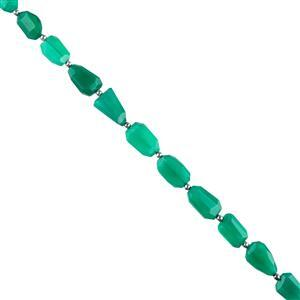 88cts Green Onyx Graduated Faceted Medium Nuggets Approx 11x8 to 16x10mm, 18cm Strand.