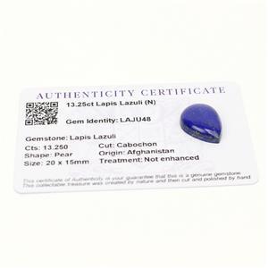 13.25cts Sar-i-Sang Lapis Lazuli 20x15mm Pear  (N)