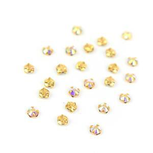 Rose Montees Crystal AB Gold Base Approx 3mm (24pc)