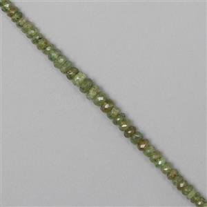 42cts Demantoid Garnet Graduated Faceted Rondelles Approx From 3x2 to 5x3mm, 17cm Strand.