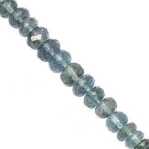 50cts Moss Aquamarine Graduated Faceted Rondelles Approx 4.5x2.5 to 7x4mm, 19cm Strand