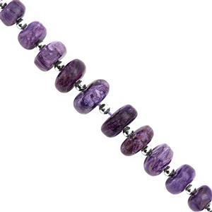 55cts Charoite Graduated Smooth Roundelle Approx 4.5x2 to 12x5mm, 14cm Strand with Spacers